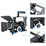 HaoFst Aluminum Alloy Camera Movie Video Cage Kit Film Making System includes (1)Video Cage+(1)Top Handle Grip+(2)15mm Rod+(1)Matte Box+(1)Follow Focus,for DSLR Camera Such as Canon Nikon Sony Olympus