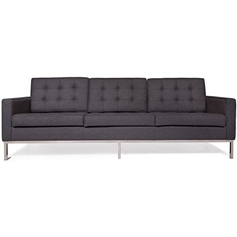 LeisureMod Modern Florence Style Sofa Set Wool (Dark Gray, Sofa)