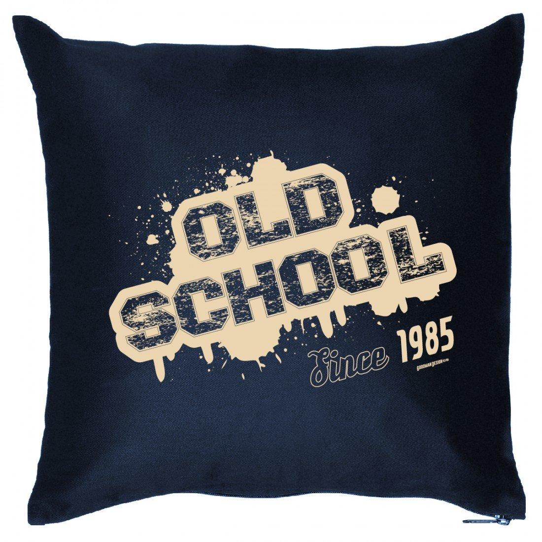 Cooles Couch Kissen mit Jahrgang zum Geburtstag – Old School since 1985 – Sofakissen Wendekissen mit Spruch und Humor bestellen
