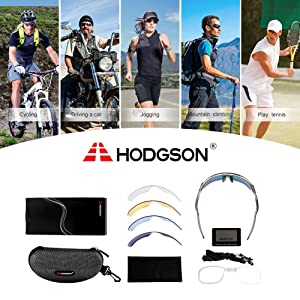 HODGSON Polarized Sports Sunglasses with 5 Interchangeable Lenses for Men Women Cycling Baseball Running Glasses, TR90 Unbreakable-Gray (Color: Gray)