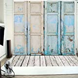 FUT Newest Blue Four Wooden Doors & Wooden Floor Vinyl Wedding Backdrop Background for Wedding, Baby, Newborn, Personal Photo 5x7ft (Color: Blue Doors(5x7ft), Tamaño: 1.5x2.1m (5x7ft))