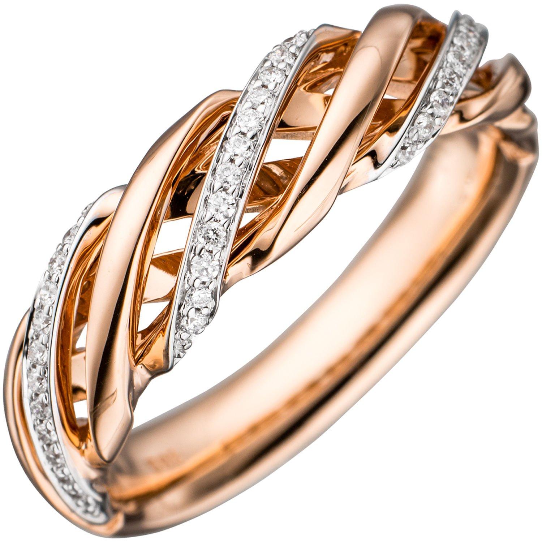 JOBO Damen Ring 585 Gold Rotgold bicolor 36 Diamanten Brillanten Goldring Diamantring günstig kaufen