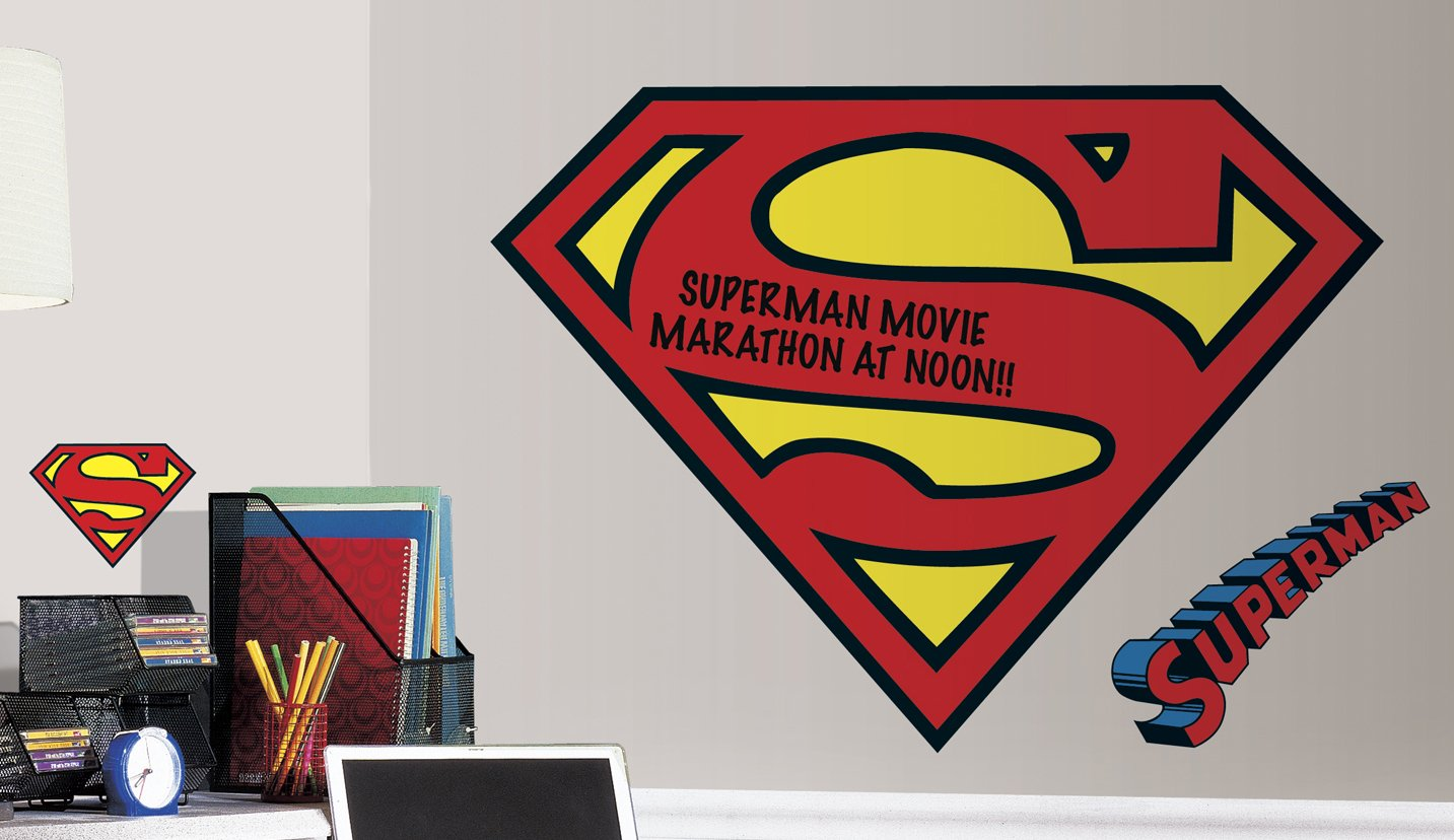 Dry Erase Superman Logo Peel and Stick Giant Wall Decals