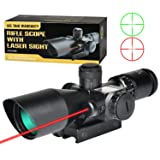 MidTen Rifle Scope 2.5-10x40e Dual Illuminated Mil-dot Gun Scopes with Red Laser & 11mm/20mm Mounts