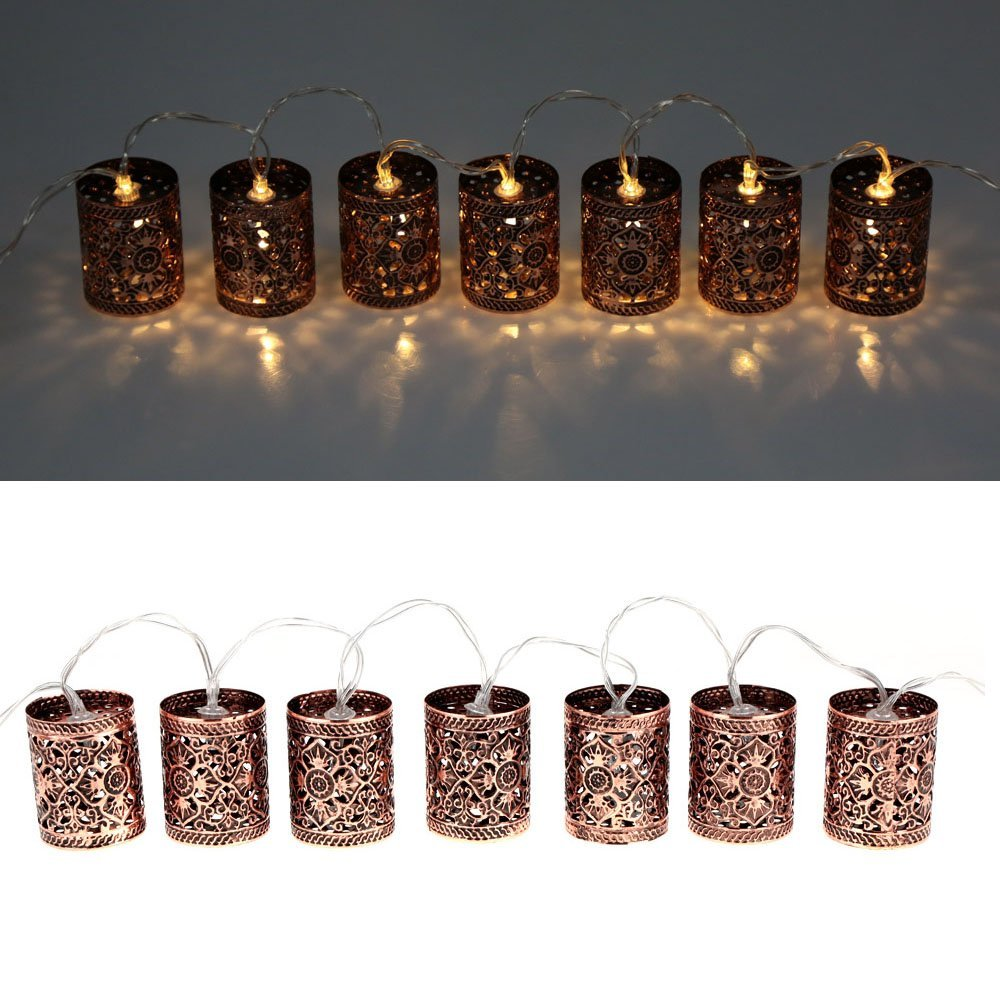 Lixada Lantern Lamp Fairy String Light 2.1M 20 LED Warm White Retro Vintage Metal Iron Hollow Cage for Party Christmas Home Room Decor Gift 4