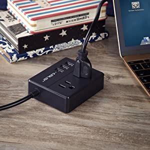 JSVER Portable Desktop Power Strip with 3 USB Smart Charging Station 2 Outlets and Child Safety Cover for Cruise Ship, Home, Hotel, Travel - Black (Color: Black)