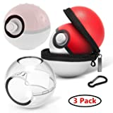 Protector Case for Nintendo Switch Poke Ball Plus Controller 2 Pack Clear Cover Case and 1 Pack Portable Carrying Storage Case with Detachable Carabiner Accessory Bag for NS