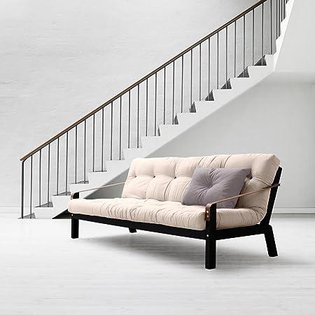 KARUP-POETRY, sofá cama para futón marrón con estructura de madera tinto color negro