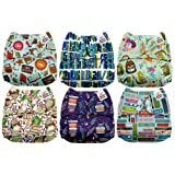 Mama Koala One Size Baby Washable Reusable Pocket Cloth Diapers, 6 Pack with 6 One Size Microfiber Inserts (Book Worm) (Color: Book Worm, Tamaño: One Size)