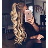 Vedar Beauty Long Curly Synthetic Lace Front Wig Light Brown Root Ombre Blonde Full Hair Wigs For Women(22Inches) (Color: Brown, Tamaño: Curl 22Inch)