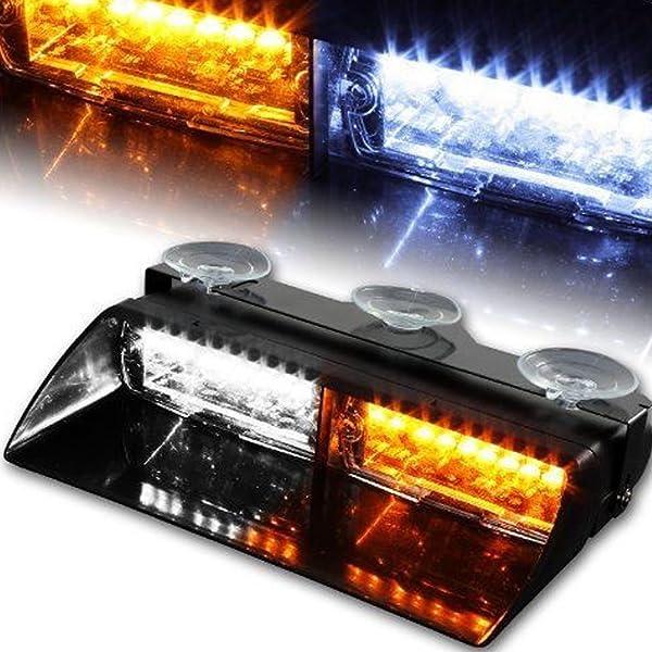 16 LED Emergency Strobe Flash Light Dash Emergency Flashing Light Amber//White