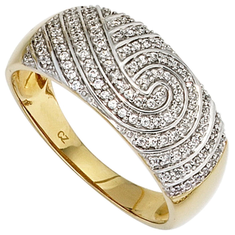 Damen Gold Ring 585 Gold Gelbgold teilrhodiniert 100 Diamanten 0,28ct. ( Größe 60 ) günstig