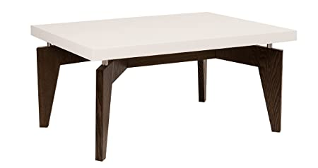 Mauro Ferretti Arak Rectangular Coffee Table, 80 x 60 x 15 cm MDF Laquarosso White/Wenge
