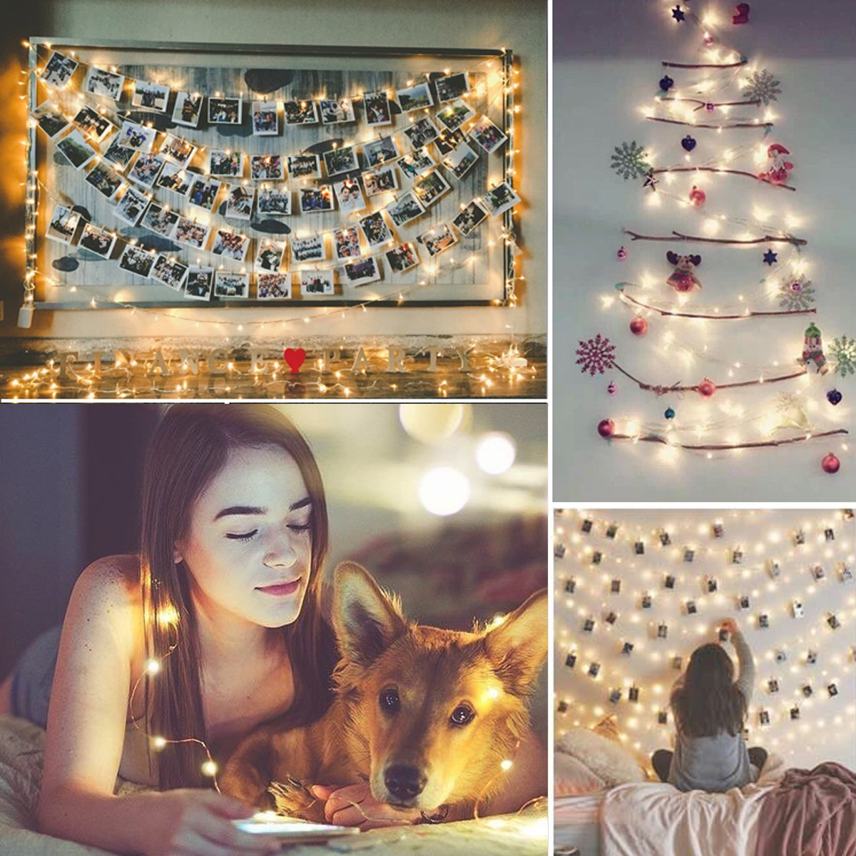 AMIR Solar Powered String Lights, 100 LED Copper Wire Lights, Starry String Lights, Indoor/Outdoor Waterproof Solar Decoration Lights for Gardens, Home, Dancing, Party Decorative Ornaments(Warm White)