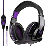[2017 Newest Gamer Gift] Anivia A9 PS4 Gaming Headset Stereo PC Computer Headphones with Microphone,Over Ear Noise Canceling 3.5mm Jack for Playstation 4 New Xbox One Mac Games,Black/Purple (Color: A9 Purple)