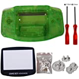 eJiasu Full Parts Replacement Housing Shell Repair Part Case Cover for Nintendo Gameboy Advance GBA (1PC GBA Shell Transparent Green with Lens and Screwdriver)