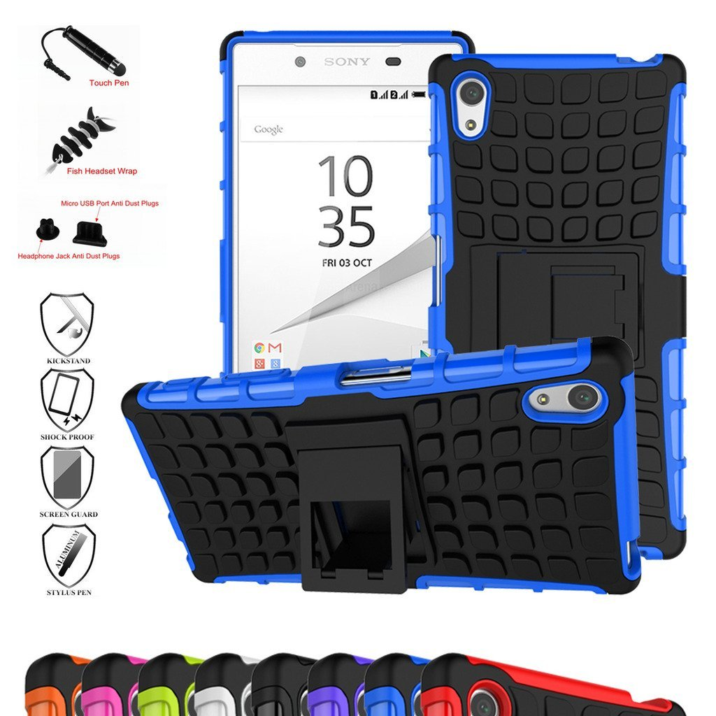 Z5 Compact Case,Mama Mouth Shockproof Heavy Duty Combo Hybrid Rugged Dual Layer Grip Cover with Kickstand For Sony Xperia Z5 Compact (With 4 in 1 Free Gift Packaged),Blue