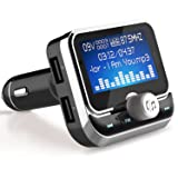 Bluetooth FM Transmitter, LeeQin Wireless Audio MP3 Player Radio Car Kit with 1.8inch Disply/Dual USB Ports/TF Card Slot/Aux Port/Hands-Free Compatible with Various Types of Smartphones (Color: Silver)