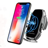 KMI CHOU A5 Phone Holder for Car,Automatic Clamping IR Intelligent Wireless Car Charger Mount - Car Charger Holder 10W Fast Charging for iPhone Xs Max/XR/X/8/8Plus Samsung S10/S9/S8-Metal Silver (Color: Metal Silver)
