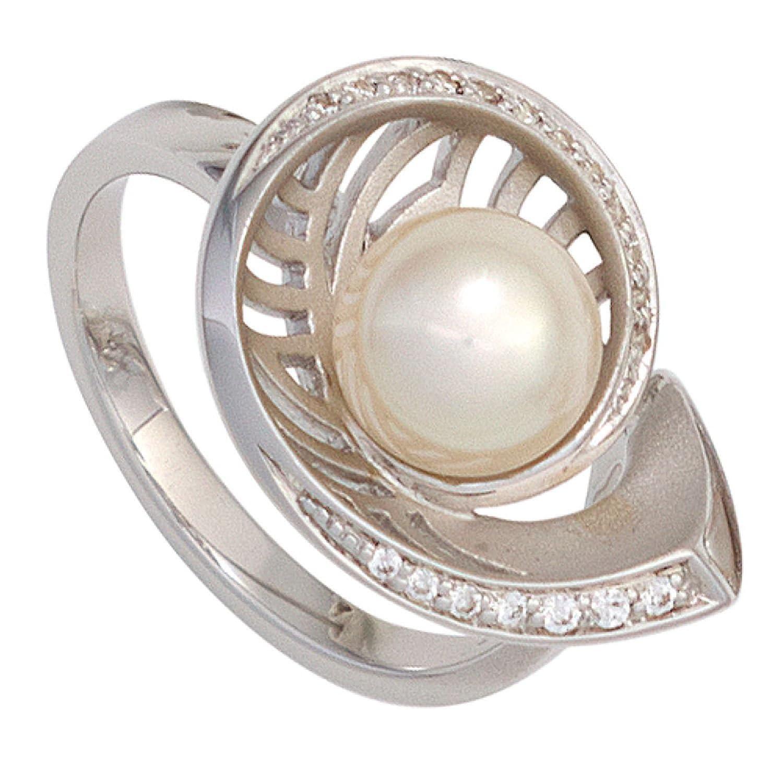 Damen Ring 585 Weißgold 1 Akoya Perle 19 Diamanten Brillanten schenken