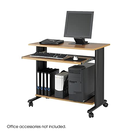 "Safco 1921MO ""Muv"" Fixed Height Workstation - Medium Oak"