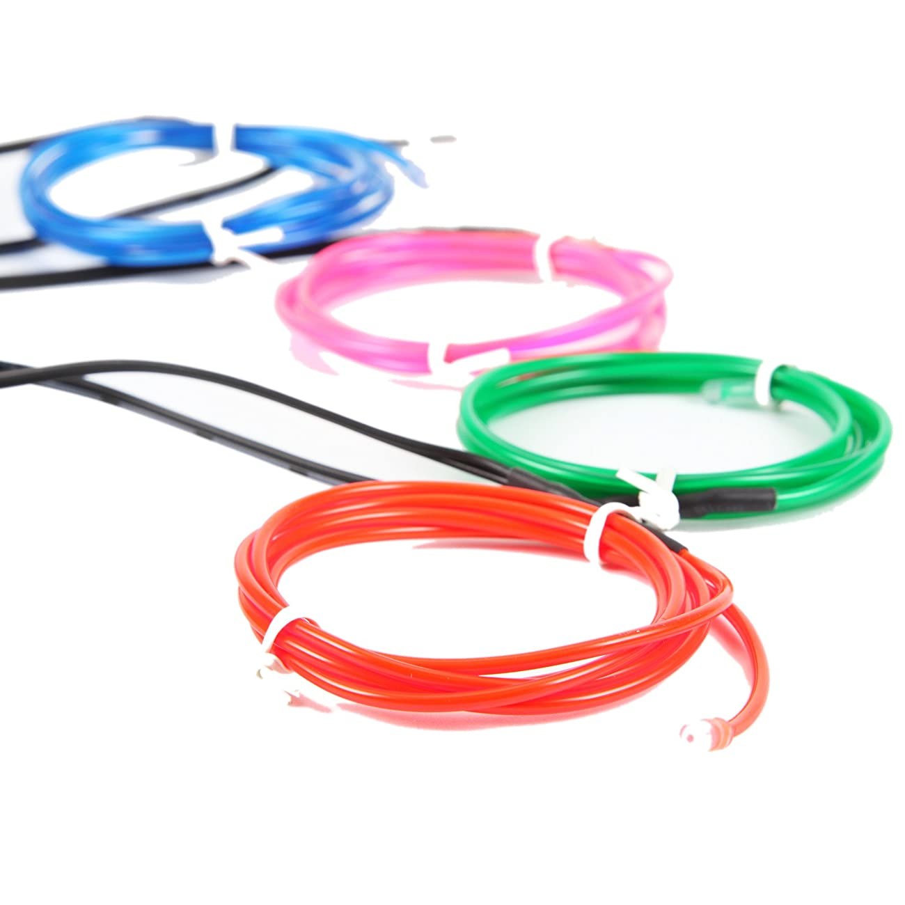 Exlight 5 X 1 Metre Neon Light El Wire- New Drive Electroluminescent Multiple Color-Set of 5(Blue, Green, Red, Pink, and White) 3