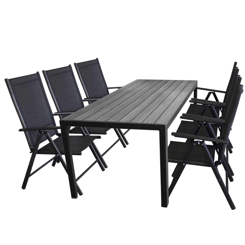 7tlg. Gartengarnitur Aluminium Gartentisch, Tischplatte Polywood, 205x90cm + 6x Aluminium Hochlehner, 2×2 Textilenbespannung, Rückenlehne in 7 Positionen verstellbar, schwarz – Gartenmöbel Set Sitzgarnitur Sitzgruppe online kaufen