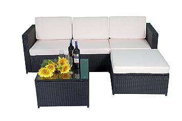 MCombo 5tlg Poly Rattan Gartenmöbel Sitzgarnitur Sitzgruppe Sofa