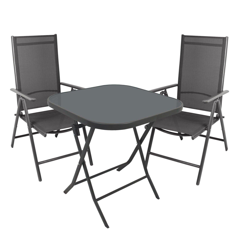 3tlg Gartenmöbel Set Gartengarnitur 70x70cm Bistrotisch Hochlehner Gartenstuhl mit 7-fach verstellbarer Rückenlehne 2x2 Textilenbespannung - Sitzgrupp Sitzgarnitur Campingmöbel