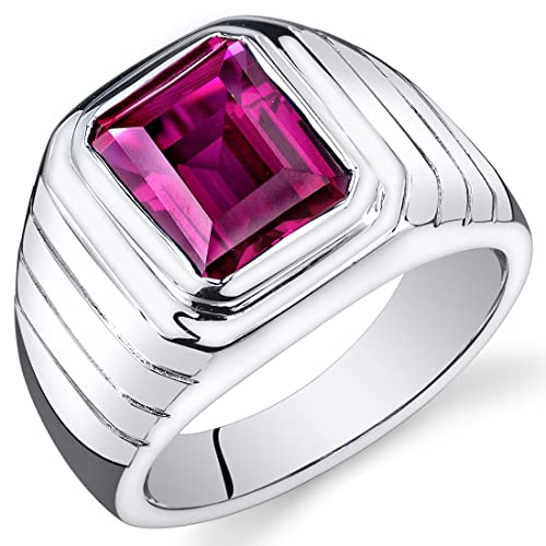 Revoni Mens 6.00 Carats Octagon Cut Ruby Ring In Sterling Silver With Rhodium Finish