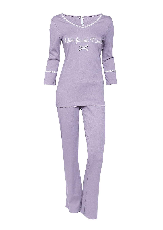 Damen Pyjama Schlafanzug Baumwolle Schön für die Nacht taupe von Louis&Louisa günstig kaufen