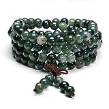 Jovivi 8mm Natural Moss Agate Stone Healing Gemstone 108 Mala Prayer Beads Stretch Bracelet Necklace (Color: 8mm Beads)