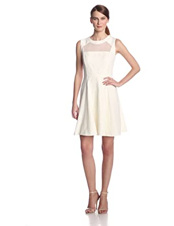 Sandra Darren Women's Sleeveless Lace Fit and Flare Dress, Ivory, 6
