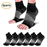 Plantar Fasciitis Compression Sleeve (6 Pairs) with Arch Foot Support for Men & Women - Best Plantar Fasciitis Night Sock for Foot and Heel Pain Relief, Black L (Color: Black (6 Pairs), Tamaño: Large (Men's 9-12/Women's 9.5-12.5))