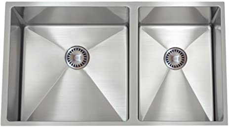 Lenova PC-SS-12Ri-D1 PermaClean 16-Gauge Stainless Steel Hand Made Kitchen Sink, 32-Inch by 19-Inch