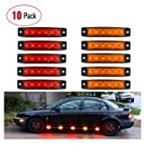 Partsam 10Pcs 3.8 Thin Red Led Side Marker Indicator Lights 6 LED Smoke Lens Waterproof 12V Trailer Lorry Van Bus Led Marker Lights for Trucks Sealed Boat Marine Led Utility Strip Lights