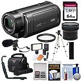 JVC Everio GZ-RY980 Quad Proof 4K Ultra HD Video Camera Camcorder with 64GB Card + Fisheye Lens + Mic + Tripod + LED Light + Case Kit