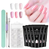 Poly Gel Nail Kit, Saviland 6 Colors Poly Gel Finger Extension Gel Quick Building Poly UV Builder Nail Gel 30 ml with Nail Brush False Nail Tips Nail Art Kit (Color: 6Pcs Set)