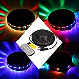 GLISTENY 6W Rotating RGB LED Disco Stage Lights Effect Voice Activated/Auto Party Club Lighting Projector with Remote for KTV Bar Party DJ Ballroom Pub Home
