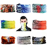 9 PCS Outdoor Magic Headband Elastic Seamless Bandana Scarf UV Resistence Sport Headwear (Color: fishing style)