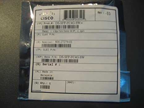 Cisco 4 GBPS FIBRE CHANNEL-SW SFP LC **New Retail**, DS-SFP-FC4G-SW= (**New Retail**)