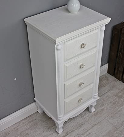 elbmöbel. de–Cómoda o mesilla de noche (tiradores de rosa), color blanco y beige