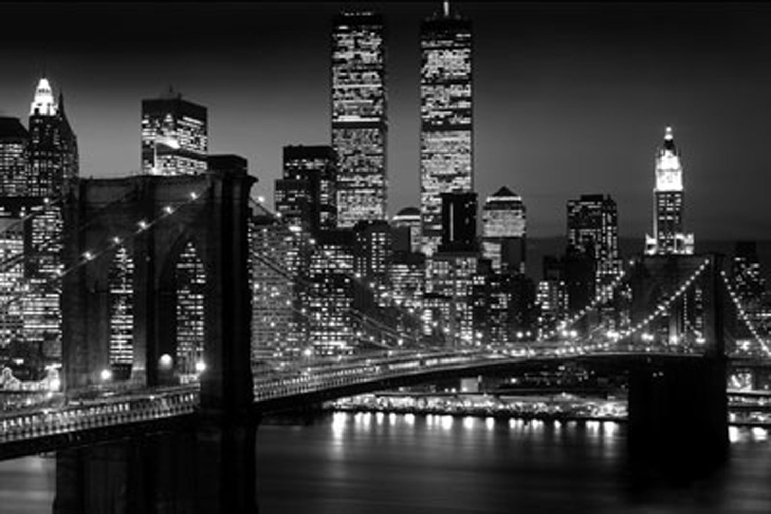 new york city brooklyn bridge night skyline 24 x 36 print poster twin towers ebay. Black Bedroom Furniture Sets. Home Design Ideas