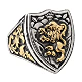 Zovivi Silver Cool Gothic Lion Sheild Stainless Steel Mens Womens King Crown Ring