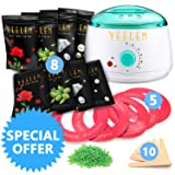 ?24 in 1?Yeelen Wax Warmer Hair Removal Waxing Kit Wax Melts + 8 Hard Wax Beans (1.76oz/Pack)+ 10 Wax Applicator Sticks (Color: White Warmer+8 Packs Waxbeans)