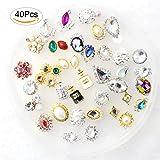 40 Packs Luxury Multi-Colored Shining Diamond Rhinestones, Fomei Distinctive DIY Nail Art Decorations Charming Nail Art Work Crystals For Elegant Beautiful Fashionable Girls And Women