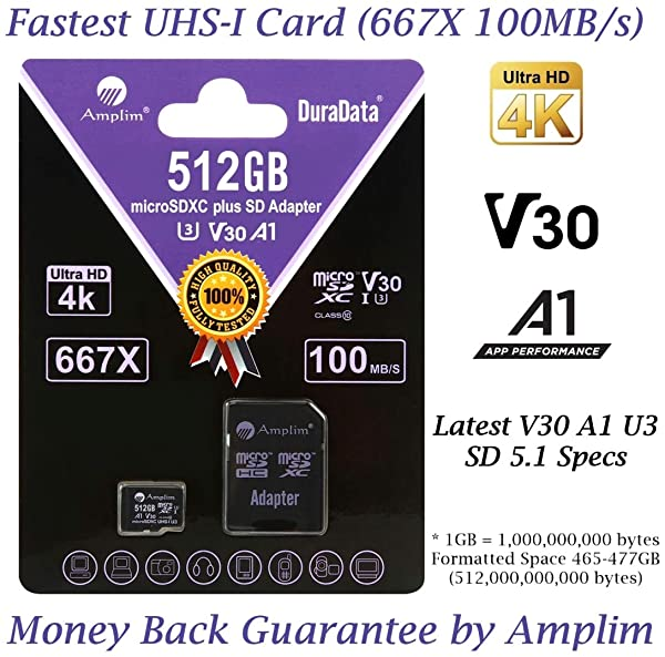 512GB 100MB/s Pro Micro SD Card Plus SD Adapter Pack. Amplim 512 GB MicroSDXC Memory Card (Class 10 U3 A1 V30 UHS-I UHS-1 TF SDXC Card) MicroSD Card for Cell Phone, Galaxy, Fire, GoPro, DJI, Camera (Color: Purple 512GB, Tamaño: MicroSD)