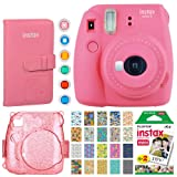 Fujifilm Instax Mini 9 Instant Camera (Flamingo Pink) + Fujifilm Instax Mini Film (20 Exposures) + Fujifilm Wallet Album + Pink Glitter Hard Case + 6 Colored Filters + 20 Sticker Frames Travel Package (Color: Flamingo Pink, Tamaño: Premium Bundle)