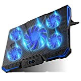 Carantee Laptop Cooling Pad 5 Quite Fans Notebook Cooler Pad USB Powered, 7 Level Adjustable Mount Stands, Blue LED Light (Color: Black, Tamaño: 12