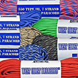 West Coast Paracord 7 Strand 550lb Tested 100 Ft 45 Different Colors
